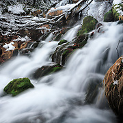 Waterfall named Fudou no Taki (不動の滝) after the first major snowfall of the winter. Photographed in Biei, Hokkaido, Japan.