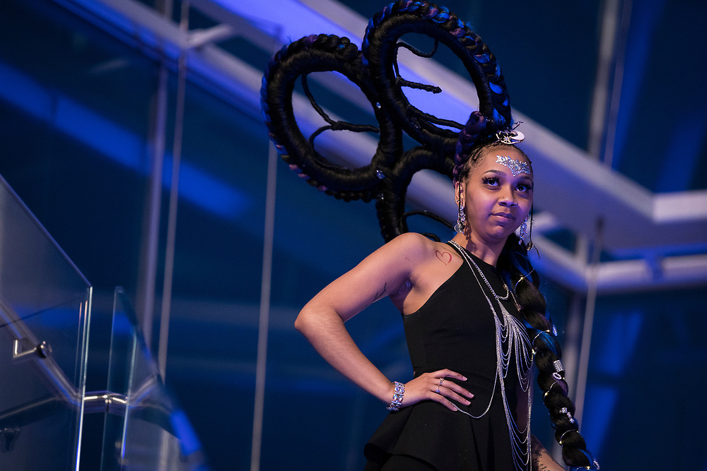 """Model Nidia Fonseca during """"Hair Affair: The Art of Hair"""" at Madison Museum of Contemporary Art in Madison, WI on Thursday, April 25, 2019. The sixth biennial brought an array of designers and stylists from across Wisconsin to create under the theme of """"Zodiac."""""""