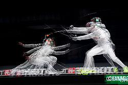 WUXI, July 27, 2018  This multi-exposed picture shows Daniele Garozzo (L) of Italy fighting against Miles Chamley-Watson of the US during the men's foil team final between Italy and the United States at the Fencing World Championships in Wuxi, east China's Jiangsu Province, July 27, 2018. Italy beat US 45-34 and claimed the title of the event. (Credit Image: © Li Bo/Xinhua via ZUMA Wire)