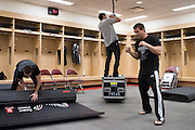 Houston, Texas - February 19, 2016: Ken Shamrock warms up backstage before his fight against Royce Gracie during Bellator 149 at the Toyota Center in Houston, Texas on February 19, 2016. (Cooper Neill for ESPN)