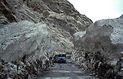 Jeep crossing a huge ice field, Karakorum Highway, Northern Pakistan, Asia