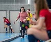ROTTERDAM -   Tina Bachman, coach OR, dames Hurley-Oranje Rood, Hurley plaatst zich voor halve finales NK  ,hoofdklasse competitie  zaalhockey.   COPYRIGHT  KOEN SUYK