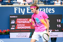 August 9, 2018 - Toronto, ON, U.S. - TORONTO, ON - AUGUST 09: Stefanos Tsitsipas (GRE) celebrates after winning a point during the second set of his third round match of the Rogers Cup tennis tournament on August 9, 2018, at Aviva Centre in Toronto, ON, Canada. (Photograph by Julian Avram/Icon Sportswire) (Credit Image: © Julian Avram/Icon SMI via ZUMA Press)