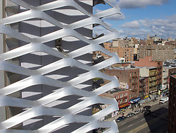 Detail of metal exterior cladding to building at  at the New Museum  Contemporary Art in Manhattan New York City USA