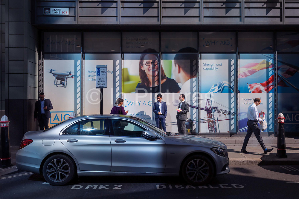 A parked Mercedes on a Disabled bay in the City of London, the capitals financial heart aka The Square Mile, on 26th September 2018, in London, England.