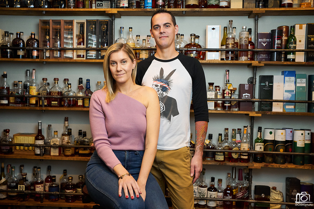 Chelsea and Nicholas Pagan's home collection of various whiskeys, photographed in his private residence, in Morgan Hill, California, on March 11, 2021. (Stan Olszewski/SOSKIphoto for Whiskey Advocate)