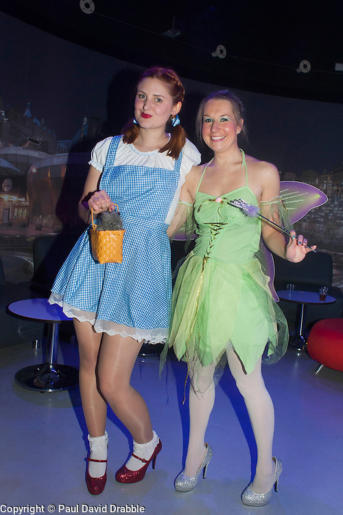 The Hubs, Hallam Union, Paternoster Row plays host to Sheffield's biggest Fancy Dress Ball. More than 900 people in fancy dress to raise money for Cancer Research on Saturday night .Hannah Pounder as Dorothy and Stephanie McKay as Tinkerbell...6 April  2013.Image © Paul David Drabble