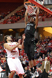 18 March 2015:   Greg Mays completes the dunk  - watched by Reggie Lynch during an NIT men's basketball game between the Green Bay Phoenix and the Illinois State Redbirds at Redbird Arena in Normal Illinois