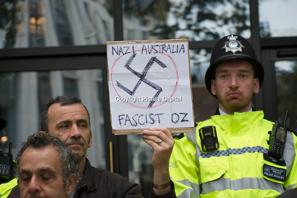 Stand with Oz. Solidarity with our Aussie suffering under a tyranny disguised as Public Health outside Australia House, London, UK. October 1st 2021.