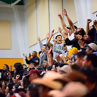 122113  Adron Gardner/Independent<br /> <br /> The crowd goes wild at the start of a second overtime period at the Wingate Winter Classic basketball tournament final game between the Thoreau Hawks and Wingate Bears.