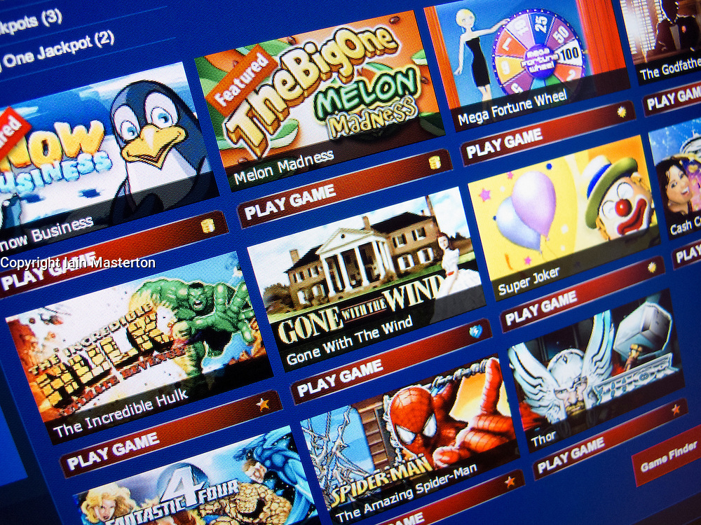 Detail of online gaming and casino website homepage screen shot