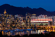 City skyline view with BC Place, Vancouver, British Columbia