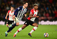 Mario Lemina of Southampton goes past  Grzegorz Krychowiak of West Bromwich .Premier league match, Southampton v West Bromwich Albion at the St. Mary's Stadium in Southampton, Hampshire, on Saturday 21st  October 2017.<br /> pic by Bradley Collyer, Andrew Orchard sports photography.
