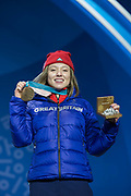 Bronze medalist Isabel Atkin of Great Britain celebrates during the medal ceremony for the women's ski slopestyle on day 8 of the PyeongChang 2018 Winter Olympic Games at Medal Plaza on February 17, 2018 in Pyeongchang-gun, South Korea (photo by Sam Mellish / In Pictures via Getty Images)