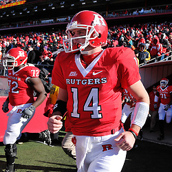 Nov 22, 2008; Piscataway, NJ, USA; Rutgers quarterback Mike Teel leads his team onto the field before they defeat the Army Black Knights 30-3 in NCAA Football at Rutgers Stadium at Rutgers Stadium