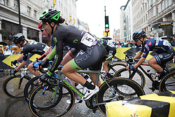Dani King (GBR) of Cylance Pro Cycling leans into a corner in the third lap of the Prudential Ride London Classique - a 66 km road race, starting and finishing in London on July 29, 2017, in London, United Kingdom. (Photo by Balint Hamvas/Velofocus.com)