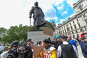 Police intervene to ease tensions between a right-wing group who engaged in an argument with Black Lives Matter protestors in front of the Winston Churchill statue during a rally in Parliament Square in London, Tuesday, June 9, 2020. Anger against systemic levels of institutional racism has raged through the city, and worldwide; sparked by the death of George Floyd, who was killed in Minneapolis, US, by a policeman who restrained him with force on 25 May 2020. (Photo/ Vudi Xhymshiti)