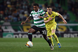 February 14, 2019 - Lisbon, Portugal - Sporting's midfielder Wendel from Brazil (L) vies with Villarreal's midfielder Javi Fuego during the UEFA Europa League Round of 32 First Leg football match Sporting CP vs Villarreal CF at Alvalade stadium in Lisbon, Portugal on February 14, 2019. (Credit Image: © Pedro Fiuza/NurPhoto via ZUMA Press)