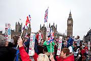 London, United Kingdom. June 3rd 2012..Queen Elizabeth II Diamond Jubilee 1952-2012.People watch the Thames Diamond Jubilee Pageant
