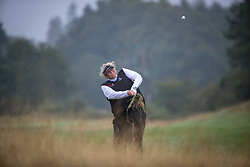 Great Britain's Dame Laura Davies plays from the deep rough at the 16th during her Semi Final match with Sweden this morning during day eleven of the 2018 European Championships at Gleneagles PGA Centenary Course.