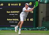 Tennis - 2019 Wimbledon Championships - Week Two, Wednesday (Day Nine)<br /> <br /> Men's Singles, Quarter-Final: Sam Querry (USA) v Rafael Nadal (ESP)<br /> <br /> Sam Querry  on Court 1.<br /> <br /> COLORSPORT/ANDREW COWIE