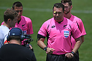 Match referee Nick Waldron at the coin toss before the Handa Premiership football match, Hawke's Bay United v Waitakere United, Bluewater Stadium, Napier, Sunday, December 20, 2020. Copyright photo: Kerry Marshall / www.photosport.nz