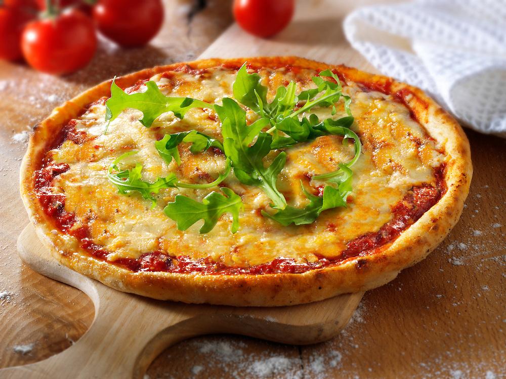 Italian cheese Pizza with rocket - margerita photo. Funky Stock pizzas photos