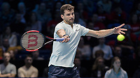 Tennis - 2017 Nitto ATP Finals at The O2 - Day Two<br /> <br /> Group Pete Sampras Singles: Dominic Thiem (Austria) Vs Grigor Dimitrov (Bulgaria)<br /> <br /> Grigor Dimitrov (Bulgaria) opens himself up to return serve at the O2 Arena <br /> <br /> <br /> COLORSPORT/DANIEL BEARHAM