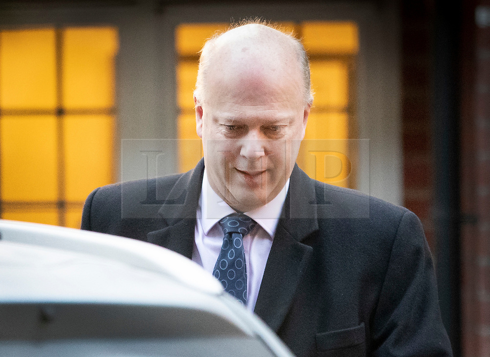 © Licensed to London News Pictures. 11/02/2019. Epsom, UK. Transport Secretary Chris Grayling leaves home this morning. Mr Grayling is under pressure after it was announced that a company given a contract for post-Brexit ferry services didn't have any ships. That contract has now been cancelled.  Photo credit: Peter Macdiarmid/LNP