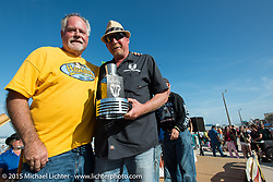 Lee Wimmer after giving his award to Larry Moore at the Boardwalk Classic Bike Show during Daytona Beach Bike Week. Daytona Beach, FL, USA. March 13, 2015.  Photography ©2015 Michael Lichter.