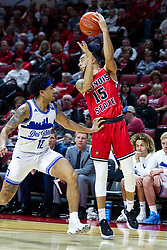 NORMAL, IL - February 22:  Lijah Donnelly passes out when confronted by Roman Penn during a college basketball game between the ISU Redbirds and the Drake Bulldogs on February 22 2020 at Redbird Arena in Normal, IL. (Photo by Alan Look)