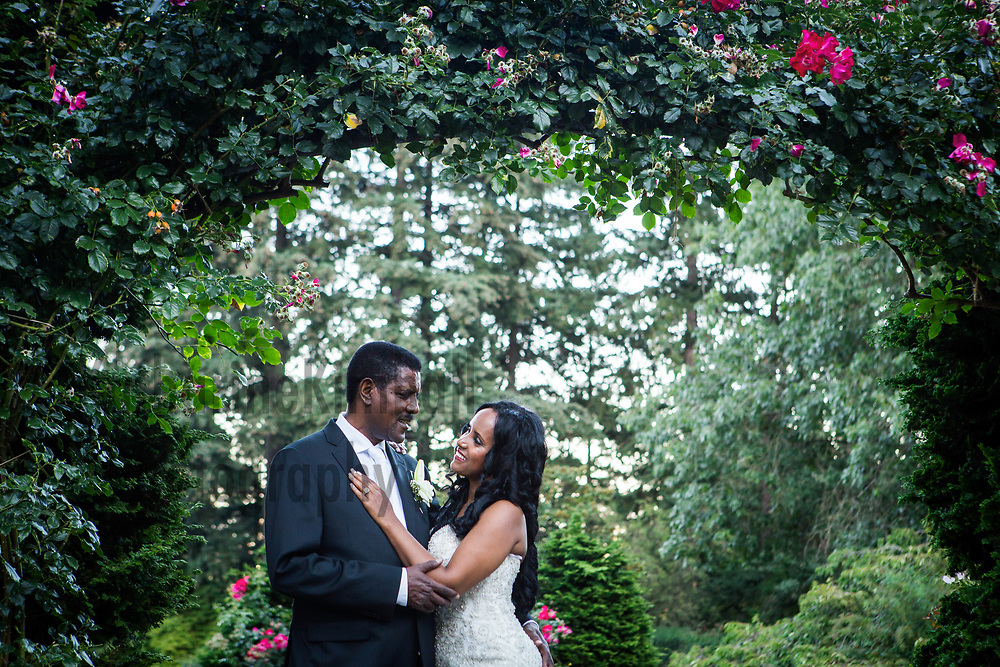 Wedding portraits in Rose Garden, Portland, OR