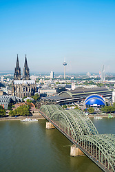 View of skyline and Cathedral in Cologne Germany
