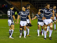 Conwy, UK. Friday, 15 November 2013<br /> Pictured: Japanese Players celebrate at the final whistle<br /> Re: Japan v Russia rugby at Parc Eirias, Conwy, North Wales, United Kingdom.