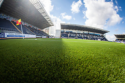 The new plastic pitch at The Falkirk Stadium, for the Scottish Championship game v Morton. The woven GreenFields MX synthetic turf and the surface has been specifically designed for football with 50mm tufts compared with the longer 65mm which has been used for mixed football and rugby uses.  It is fully FFA two star compliant and conforms to rules laid out by the SPL and SFL.<br /> ©Michael Schofield.
