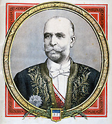 Baron Alphonse Chodron de Courcel (1835-1919) at the time he became France's Ambassador to  the United Kingdom, a post he held until 1898. From 'Le Petit Journal', Paris, 22 October 1894. French, Britain, Diplomat
