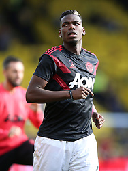 Manchester United's Paul Pogba warming up before the Premier League match at Vicarage Road, Watford