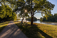Towpath Trail and Maumee River in Grand Rapids, Ohio, USA