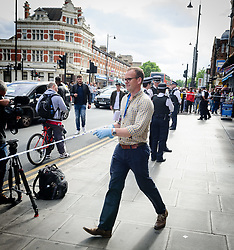 June 4, 2017 - London, Great Britain - London Bridge terror attack, aftermaths..East Ham arrestForensic officer with rubber gloves on the scene (Credit Image: © Aftonbladet/IBL via ZUMA Wire)