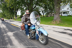 Evan Riggle riding his 1942 Indian 4-cylinder in the Cross Country Chase motorcycle endurance run from Sault Sainte Marie, MI to Key West, FL (for vintage bikes from 1930-1948). Stage 2 from Ludington, MI to Milwaukee, WI, USA. Saturday, September 7, 2019. Photography ©2019 Michael Lichter.