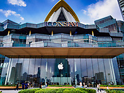 17 NOVEMBER 2018 - BANGKOK, THAILAND: The Apple Store on the riverfront in ICONSIAM in Bangkok. ICONSIAM has the first Apple Store in Thailand. A second Apple Store is currently under construction in Central World, a mall in the center of Bangkok. ICONSIAM is a mixed-use development on the Thonburi side of the Chao Phraya River. It includes two large malls, with more than 520,000 square meters of retail space, an amusement park, two residential towers and a riverside park. It is the first large scale high end development on the Thonburi side of the river and will feature the first Apple Store in Thailand and the first Takashimaya department store in Thailand.      PHOTO BY JACK KURTZ