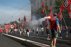 June 24, 2017 - Rome, Italy - National demonstration of the right movement CasaPound against the ''Ius Soli'' . The 'Ius Soli' is the right of anyone born in the territory of a state to nationality or citizenship. (Credit Image: © Patrizia Cortellessa/Pacific Press via ZUMA Wire)