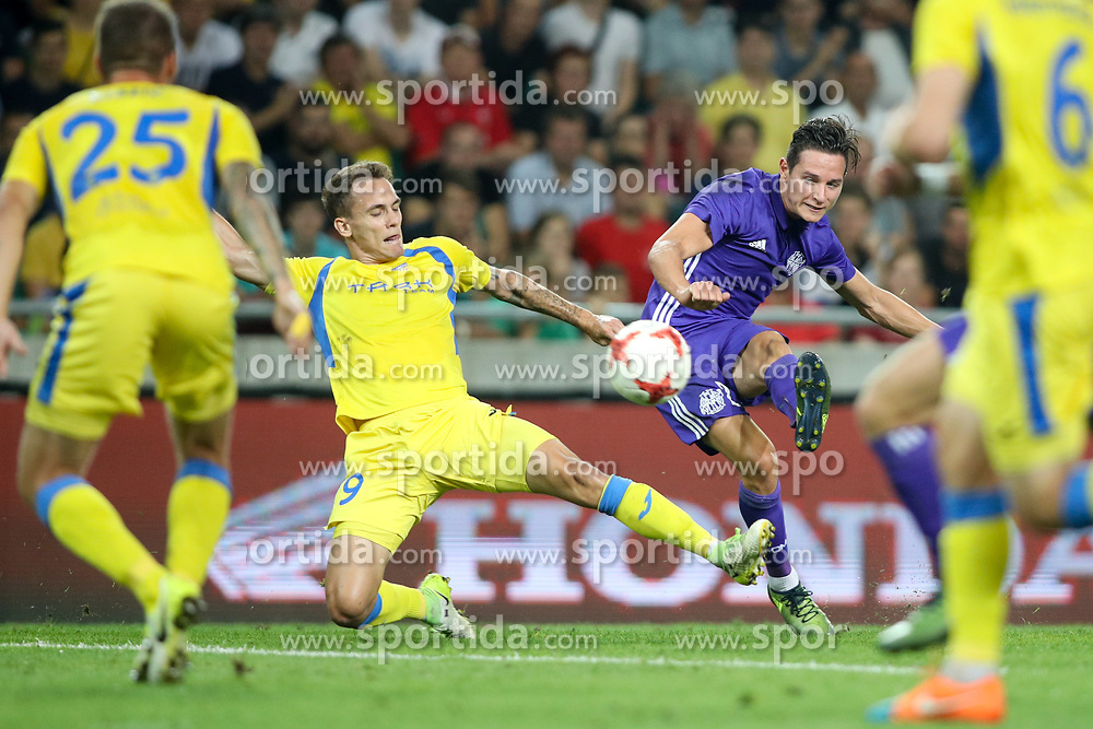 Lovro Bizjak of NK Domzale and Florian Thauvin of Olympic Marseille during football match between NK Domzale and Olympique de Marseille in First game of UEFA Europa League playoff round, on August 17, 2017 in SRC Stozice, Ljubljana, Slovenia. Photo by Morgan Kristan / Sportida