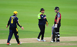 Jim Allenby, captain of Somerset and Liam Dawson , captain of Hampshire talks to the umpires.  - Mandatory by-line: Alex Davidson/JMP - 02/08/2016 - CRICKET - The Ageas Bowl - Southampton, United Kingdom - Hampshire v Somerset - Royal London One Day