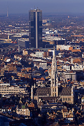 BRUSSELS, BELGIUM - Aerial view of Brussels showing the town hall on the Grand Place and the Gare du Midi tower and South Train Station.