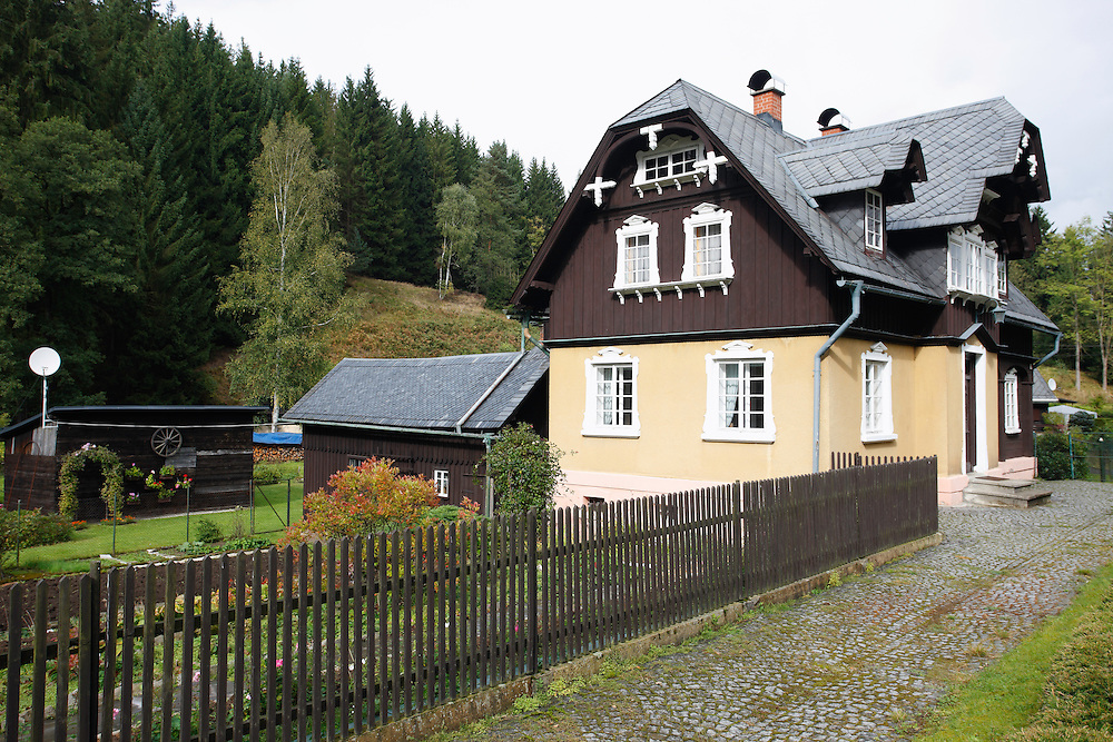TRADITIONAL ARCHITECTURE. HALF TIMBERED HOUSES.<br /> KYOV. CESKE SVYCARSKO. CZECH REPUBLIC.