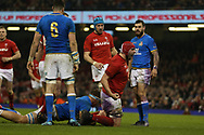 Cory Hill of Wales celebrates after he scores his teams 3rd try. Wales v Italy , NatWest 6 nations 2018 championship match at the Principality Stadium in Cardiff , South Wales on Sunday 11th March 2018. pic by Andrew Orchard, Andrew Orchard sports photography