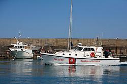 ITALY SICILY GIARDINI NAXOS 7MAY08 - Italian coast guard vessel passes illegal driftnet fishing boat Diomede II fishing vessel in their home port of Giardini Naxos in Sicily in the Mediterranean Sea...jre/Photo by Jiri Rezac / Greenpeace..© Jiri Rezac 2008..Contact: +44 (0) 7050 110 417.Mobile:  +44 (0) 7801 337 683.Office:  +44 (0) 20 8968 9635..Email:   jiri@jirirezac.com.Web:    www.jirirezac.com..© All images Jiri Rezac 2008 - All rights reserved.