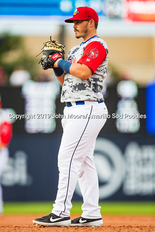 Amarillo Sod Poodles infielder Kyle Overstreet (3) waits for a pitch against the Frisco Rough Riders on Monday, June 3, 2019, at HODGETOWN in Amarillo, Texas. [Photo by John Moore/Amarillo Sod Poodles]