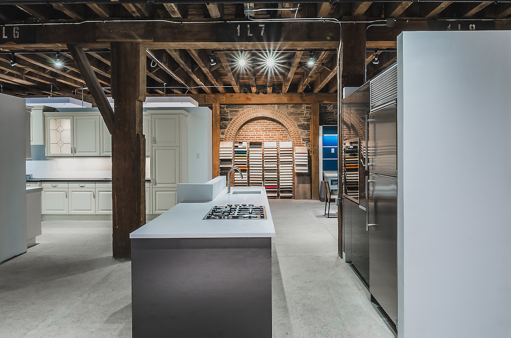 Interior and architectural photographs of German Kitchen Center in Red Hook Brooklyn New York.